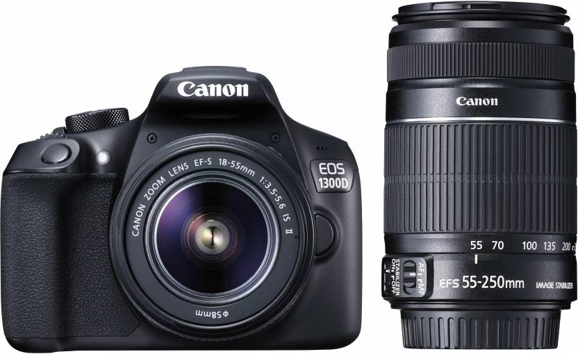 Canon EOS 1300D Kit (EF S18-55 IS II + 55-250 mm) 18 MP DSLR Camera (Black) Paytm Mall Rs. 36999.00