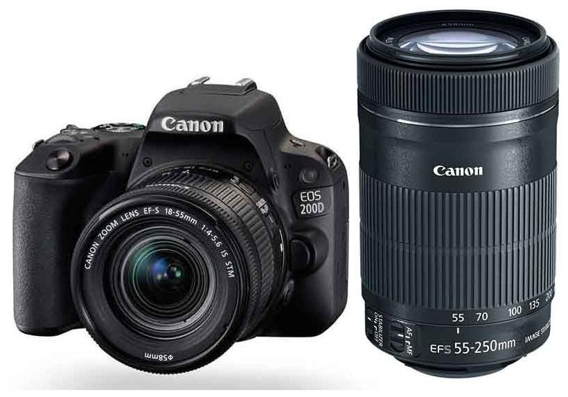 Canon EOS 200D Kit (EF-S18-55 IS STM & EF-S55-250 IS STM) 24.2 MP DSLR Camera (Black)