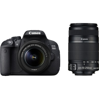 Canon EOS 700D (With EF S18-55 IS II + 55-250 mm IS II Lens) 18 MP DSLR Camera (Black) + Carry Case + 8GB SD Card