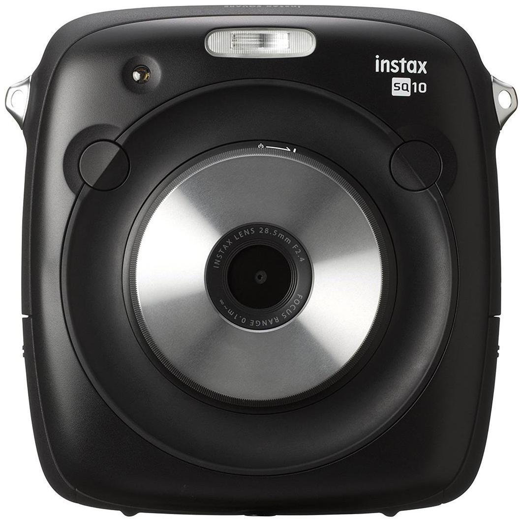 Fujifilm Instax Square SQ10 Hybrid Instant Camera (Black) with Fujifilm Instax Square Instant Film - 10 Exposures