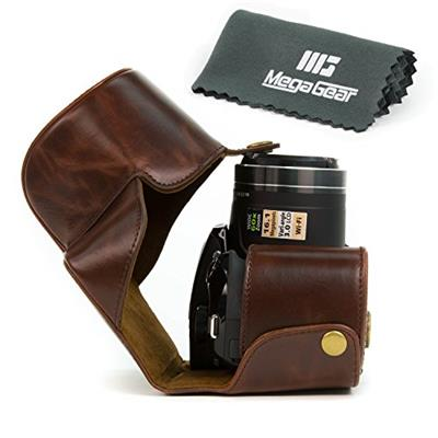 MegaGear Ever Ready Protective Dark Brown Leather Camera Case Bag for Nikon COOLPIX P520 Nikon COOLPIX P530 Nikon COOLPIX P610 Digital Camera