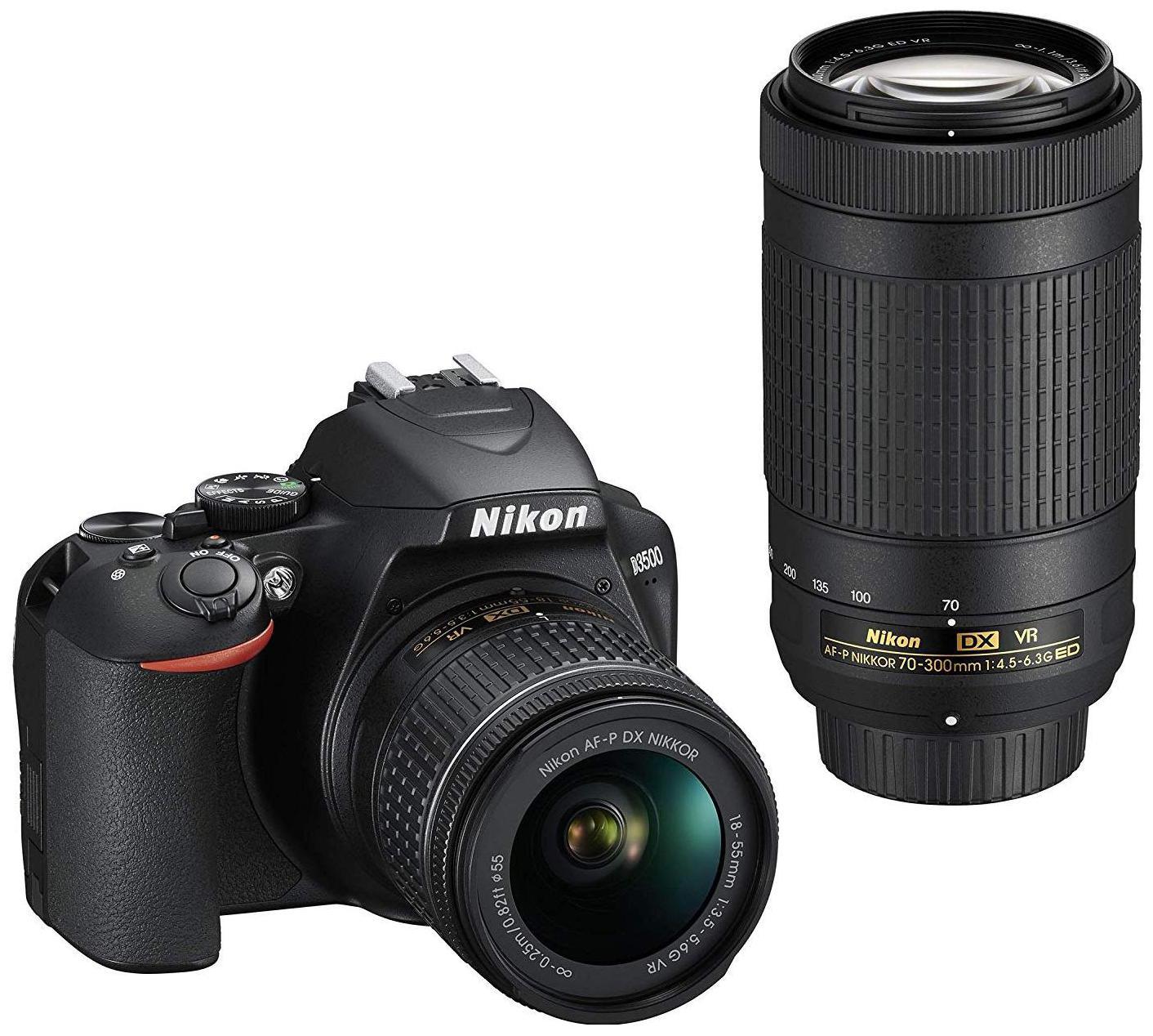 Nikon D3500 Kit (AF-P DX Nikkor 18-55mm f/3.5-5.6G VR & AF-P DX Nikkor 70-300mm f/4.5-6.3G ED) DSLR Camera (Black)