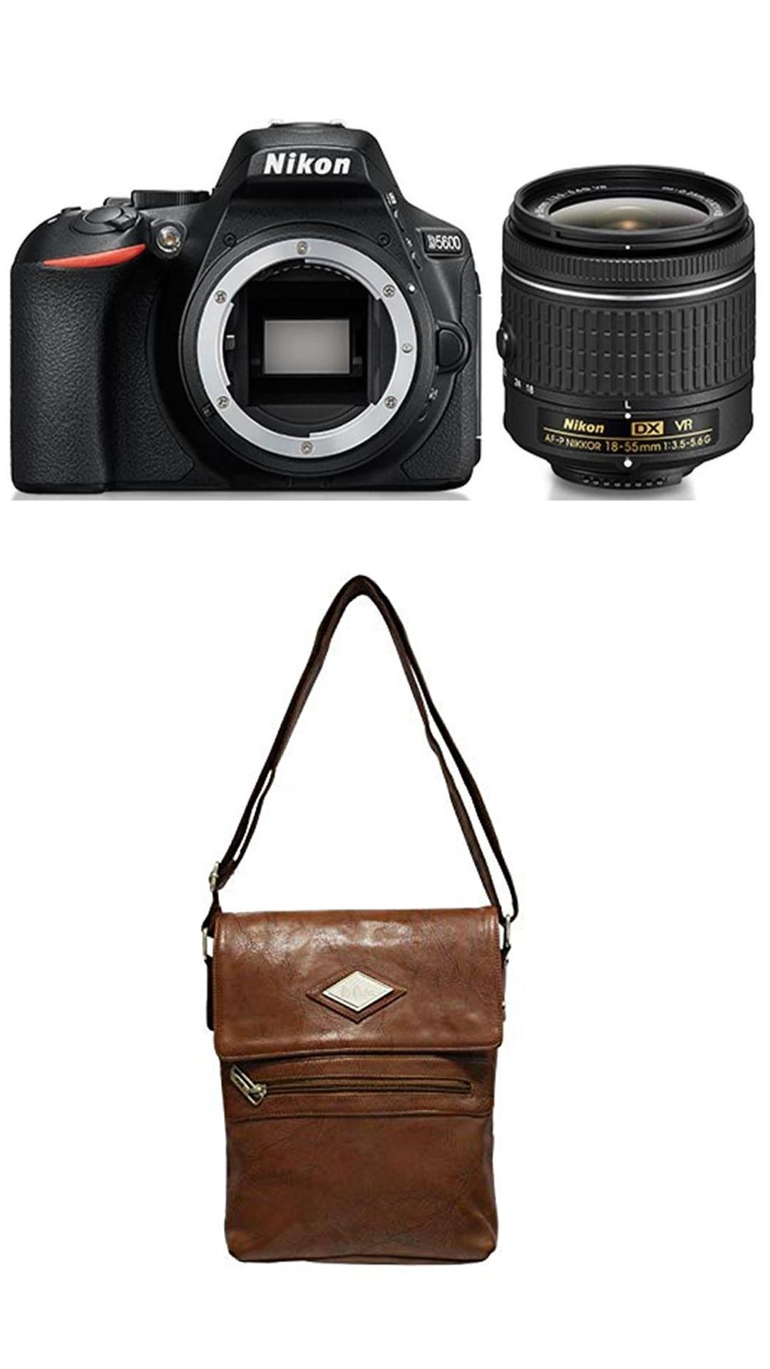 Nikon D5600 Kit (AF-P DX NIKKOR 18-55mm F/3.5-5.6G VR) DSLR Camera (Black) + FREE Nikon DSLR Bag + 16GB Memory Card - Free Lee Cooper Sling Bag