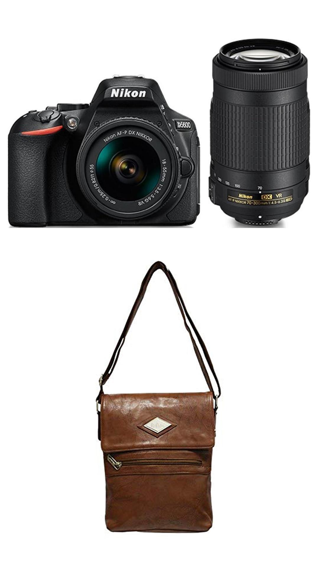 Nikon D5600 Kit (AF-P DX 18-55 Mm VR + AF-P DX NIKKOR 70-300mm F/4.5-6.3G ED VR Kit Lenses) 24.2 MP DSLR Camera (Black) + FREE Nikon DSLR Bag + 16GB Memory Card - Free Lee Cooper Sling Bag