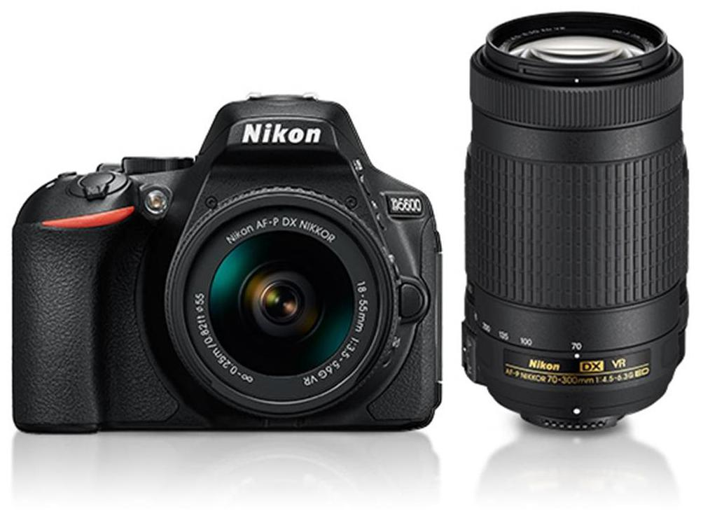Nikon D5600 Kit (AF-P DX 18-55 Mm VR + AF-P DX NIKKOR 70-300mm F/4.5-6.3G ED VR Kit Lenses) 24.2 MP DSLR Camera (Black) + FREE Nikon DSLR Bag + 16GB Memory Card