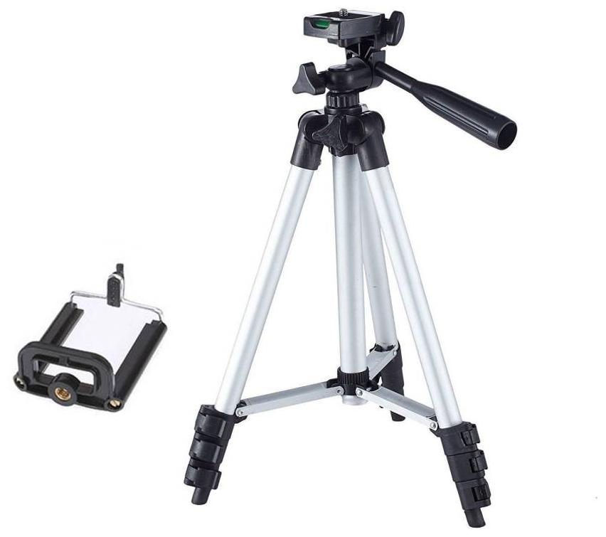 VRAI 3110 Portable & Foldable Camera & Mobile Tripod with Mobile Clip Holder Bracket Fully Flexible Mount Cum Tripod Stand VTS036