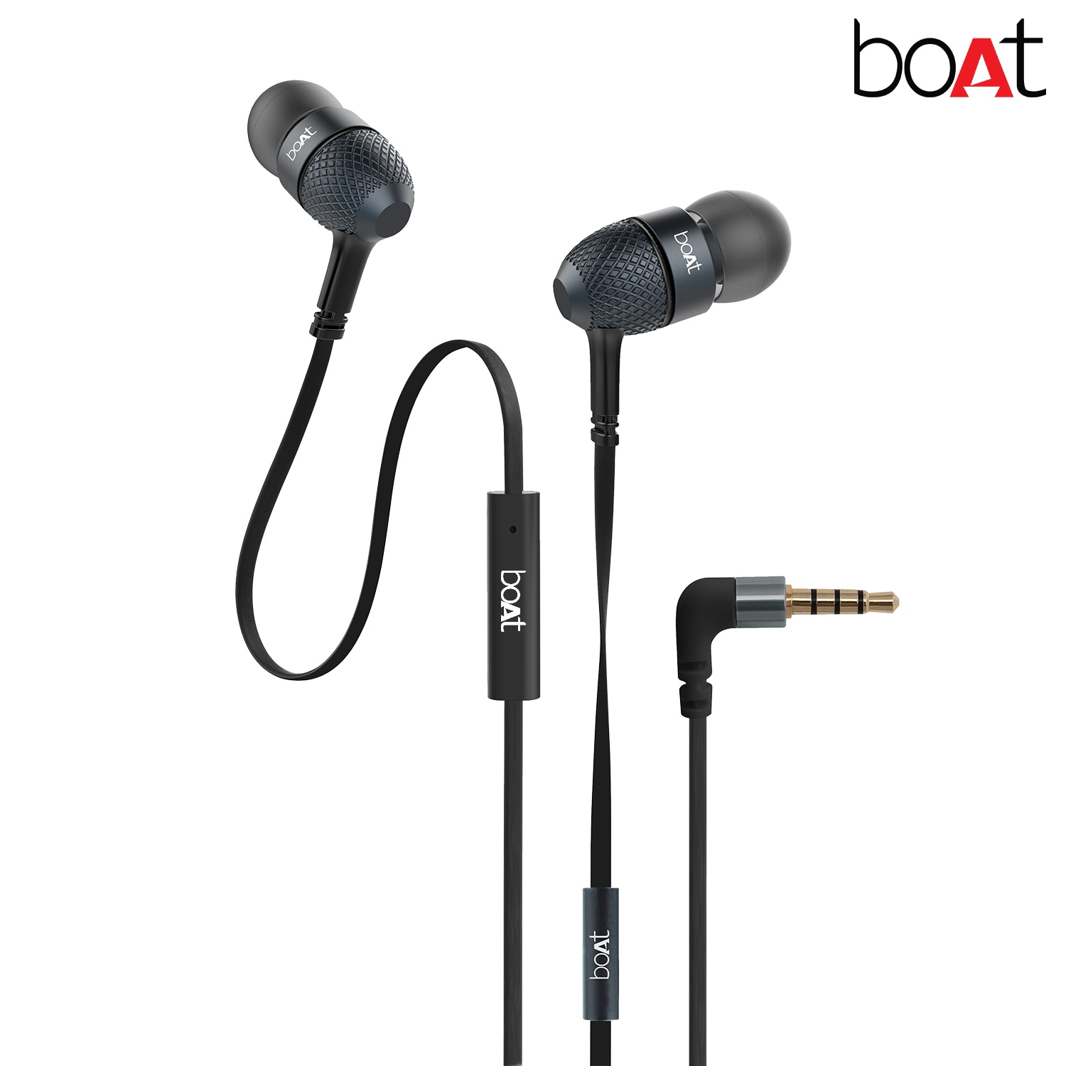 Boat Bassheads 225 In-Ear Super Extra Bass Headphones With One Button Mic (Black)