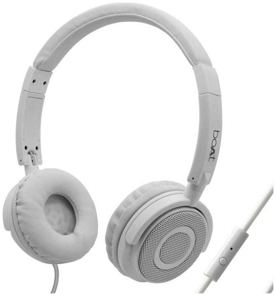 boAt BassHeads 900 Super Extra Bass On-Ear wired Headphones with Mic (White)