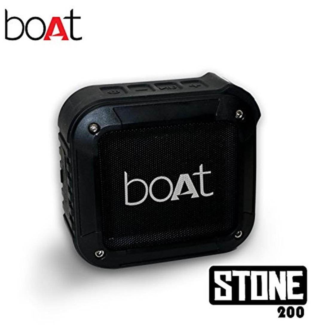 boAt Stone 200 Water and Shock Resistant Wireless Portable Speakers (Black)