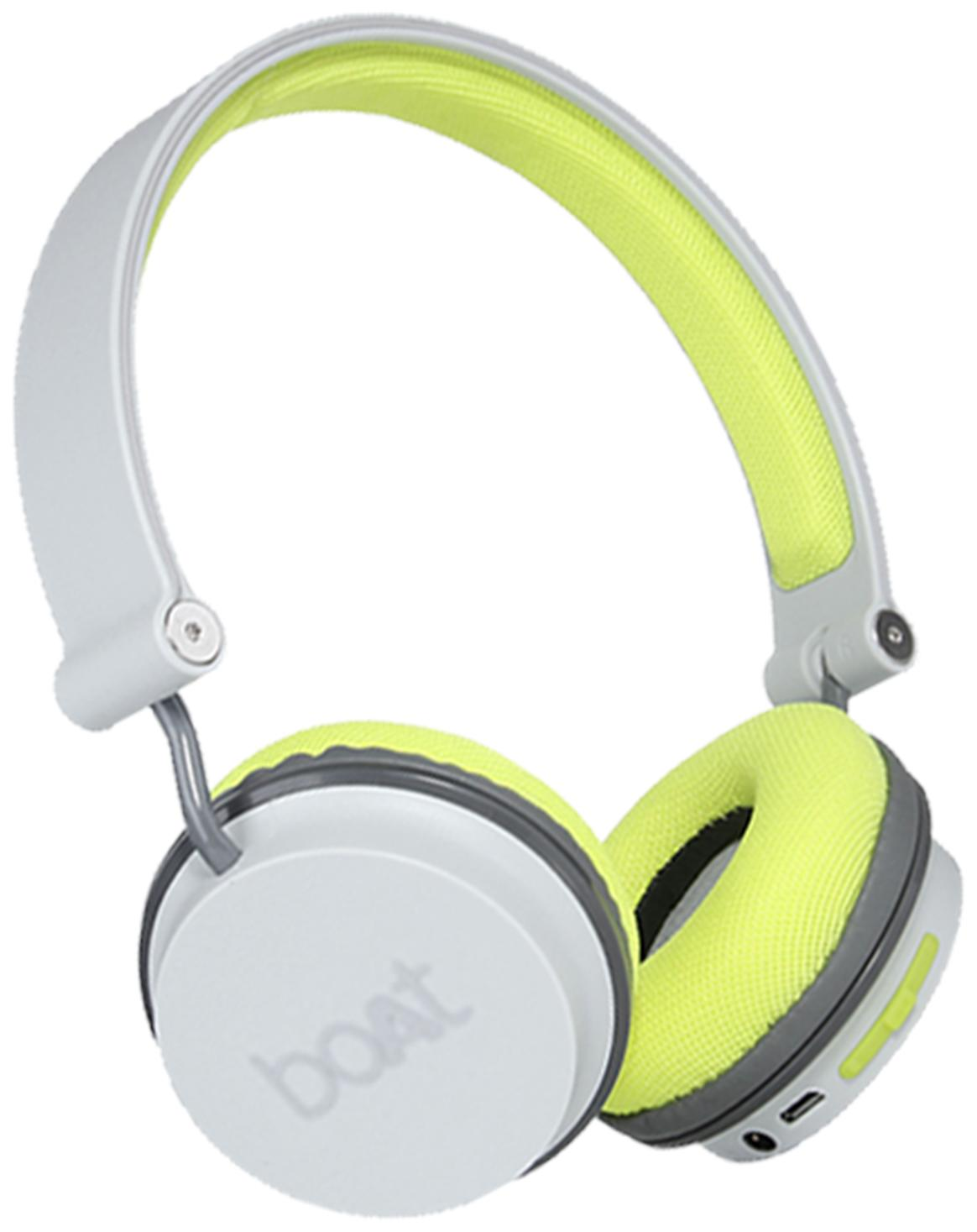 boAt Rockerz 400 Super Extra Bass On-Ear Bluetooth Headphones with Mic (Grey/Green)