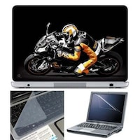 FineArts Biker Laptop Skin For 15.6 Inch Laptop With Key Guard & Screen Protector
