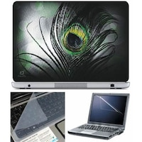 FineArts Black Feather Laptop Skin For 15.6 Inch Laptop With Key Guard & Screen Protector