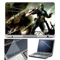 FineArts Captain America Fighting Laptop Skin For 15.6 Inch Laptop With Key Guard & Screen Protector