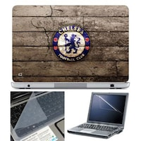 FineArts Chelsea Football Club Wooden Laptop Skin For 15.6 Inch Laptop With Key Guard & Screen Protector