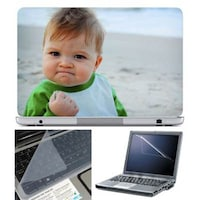 FineArts Confident Child Laptop Skin For 15.6 Inch Laptop With Key Guard & Screen Protector