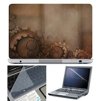 FineArts Gear On Brown Laptop Skin For 15.6 Inch Laptop With Key Guard & Screen Protector