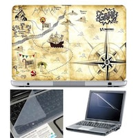 FineArts Map Gah Laptop Skin For 15.6 Inch Laptop With Key Guard & Screen Protector