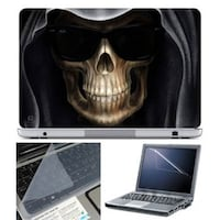 FineArts Skull Black Goggle Laptop Skin For 15.6 Inch Laptop With Key Guard & Screen Protector