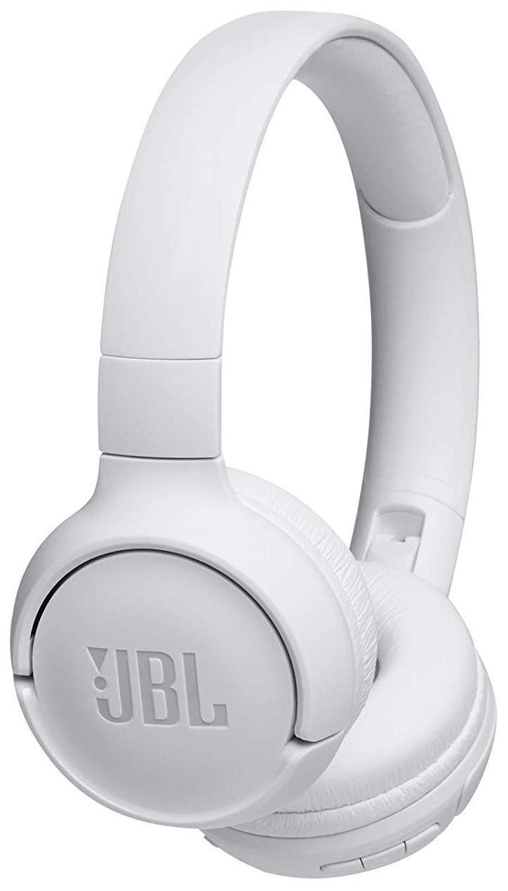 JBL T500BT Powerful Bass Wireless On-Ear Headphones with Mic (White)