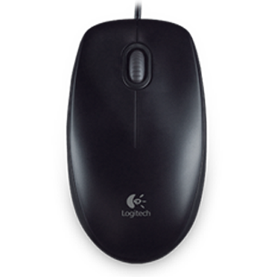 Logitech B100 USB (Wired) Optical Mouse (Black)