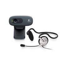 Logitech C270h HD Webcam with wired on Ear Headset