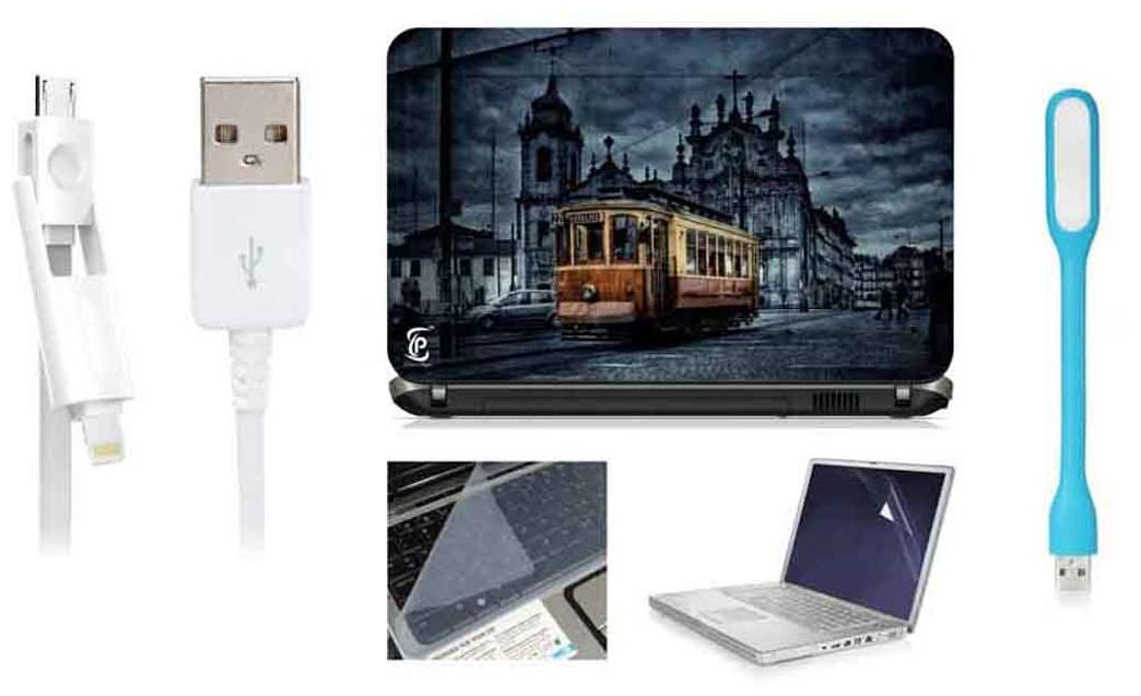 Print Shapes Combo Of Old Train In The City For 39.62 cm (15.6) Laptop Skin With Keyboard & Screen Protector, USB LED, Data Cable