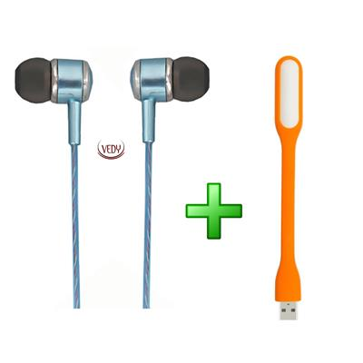 Vedy super quality earphone with unique sound with free 1 usb light (color as per available)