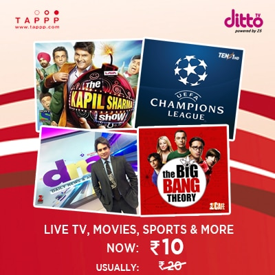 Live TV, Movies, Sports and much more on 100+ live TV channels at Rs. 10 with TAPPP