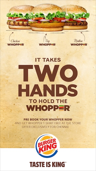 Pre-book Mutton Whopper + Free T-Shirt @Chennai, Express Avenue Mall