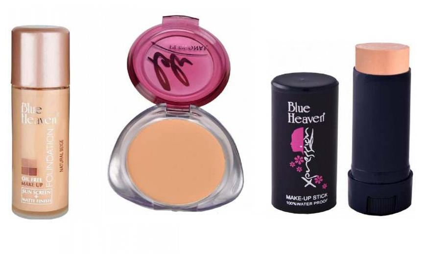 Blue Heaven Combo of Oil Free Foundation Personal Compact And Makeup Stick Concealer