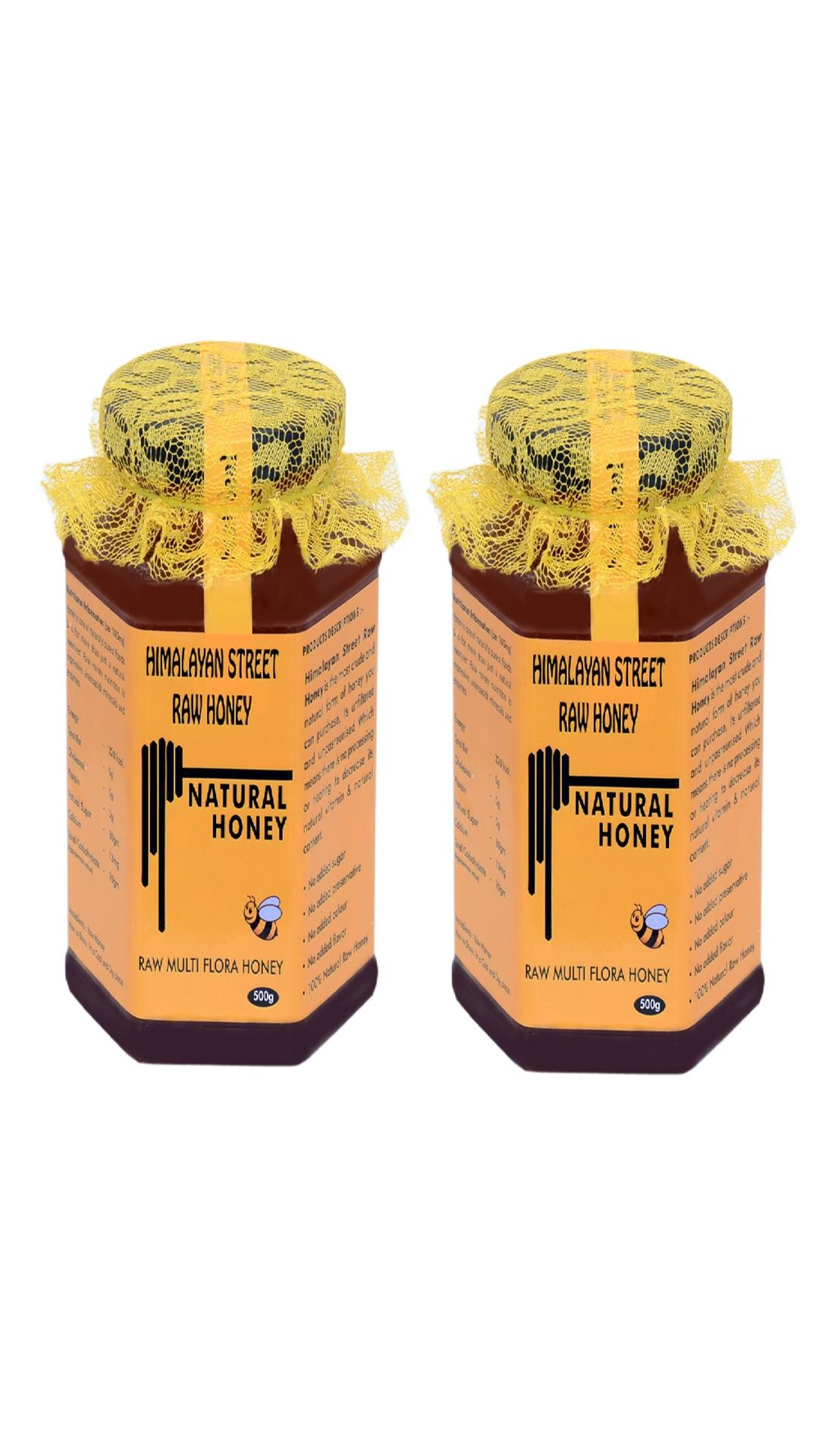 Himalayan Street Raw Honey unprocessed Raw Multi Flora Honey, 100% Natural Honey (Pack of 2 )500gm X 2