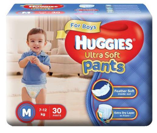 Huggies Diapers - Medium Size White For Boys Premium Ultra Soft Pants 30 pcs