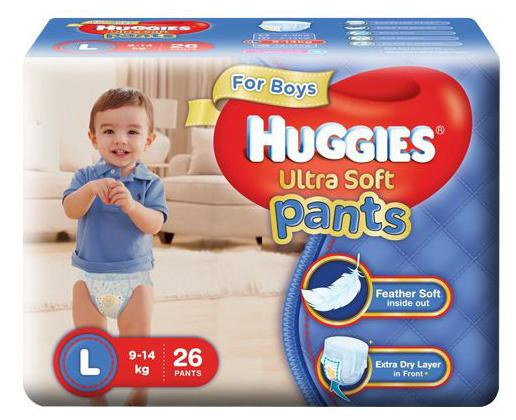 Huggies Diapers - Large Size White For Boys Premium Ultra Soft Pants 26 pcs