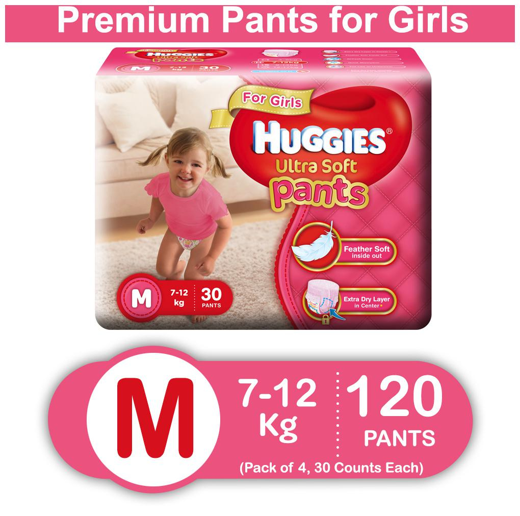 Huggies Ultra Soft Medium Size Premium Diapers Pants for Girls (Pack of 4) 30 Counts Each