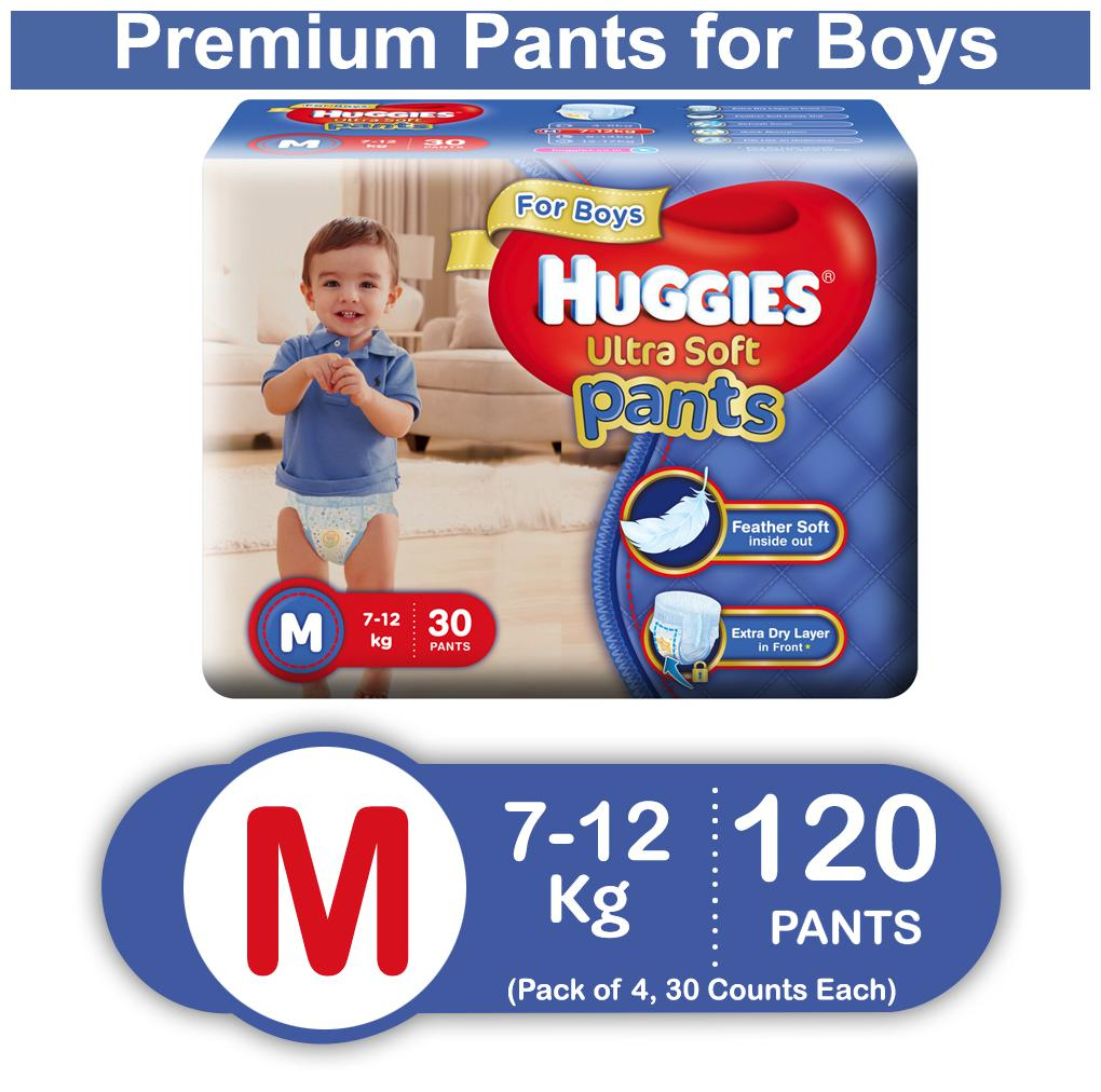 Huggies Ultra Soft Medium Size Premium Diapers Pants for Boys (Pack of 4) 30 Counts Each