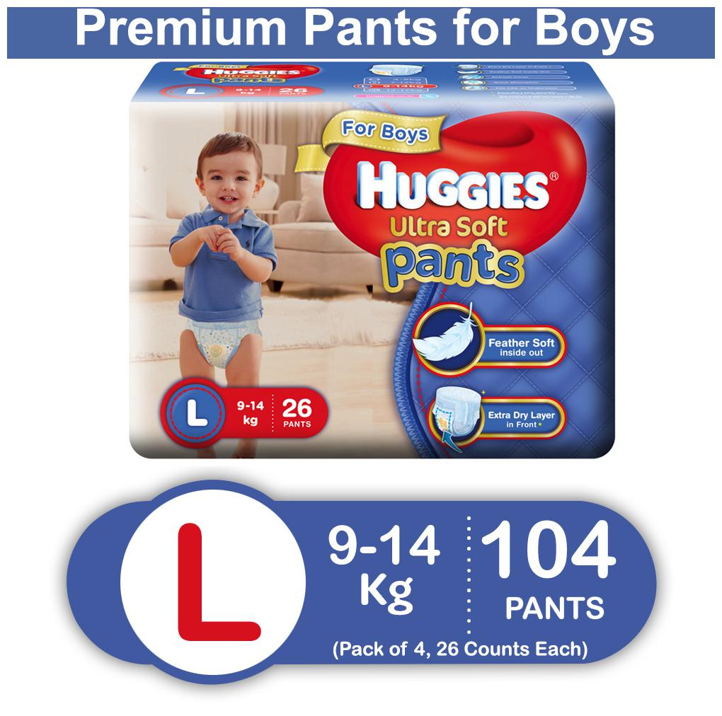 Huggies Ultra Soft Large Size Premium Diapers Pants for Boys (Pack of 4) 26 Counts Each