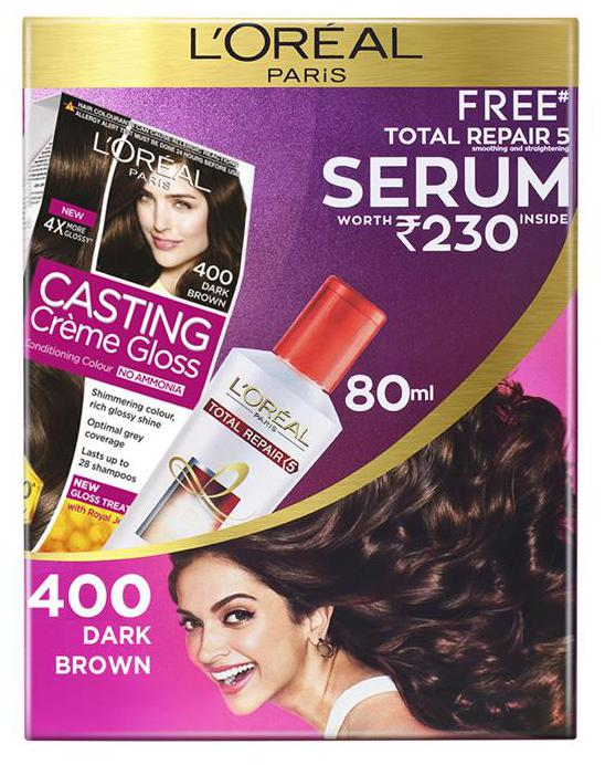 L'Oreal Paris Casting Creme Gloss Hair Colour 400 Dark brown With Free Total Repair 5 Serum, 239.5 gm
