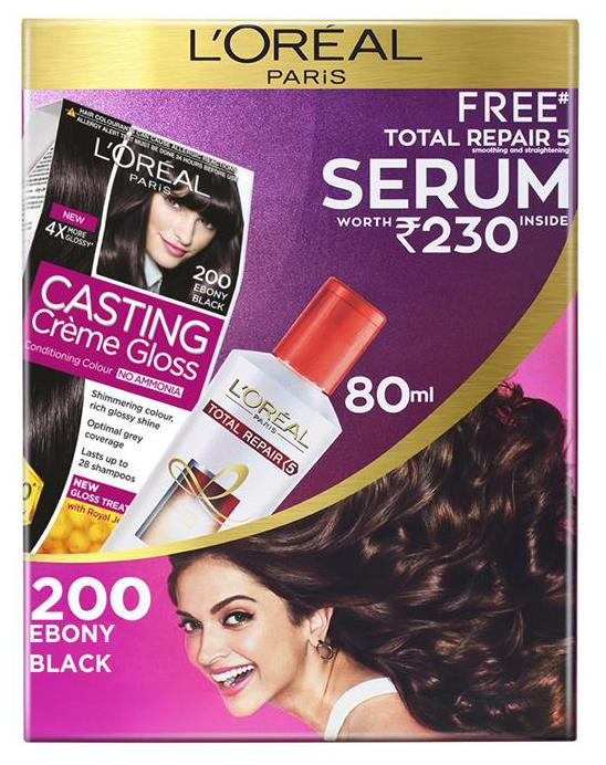 L'Oreal Paris Casting Creme Gloss Hair Colour 200 Ebony Black With Free Total Repair 5 Serum, 239.5 gm