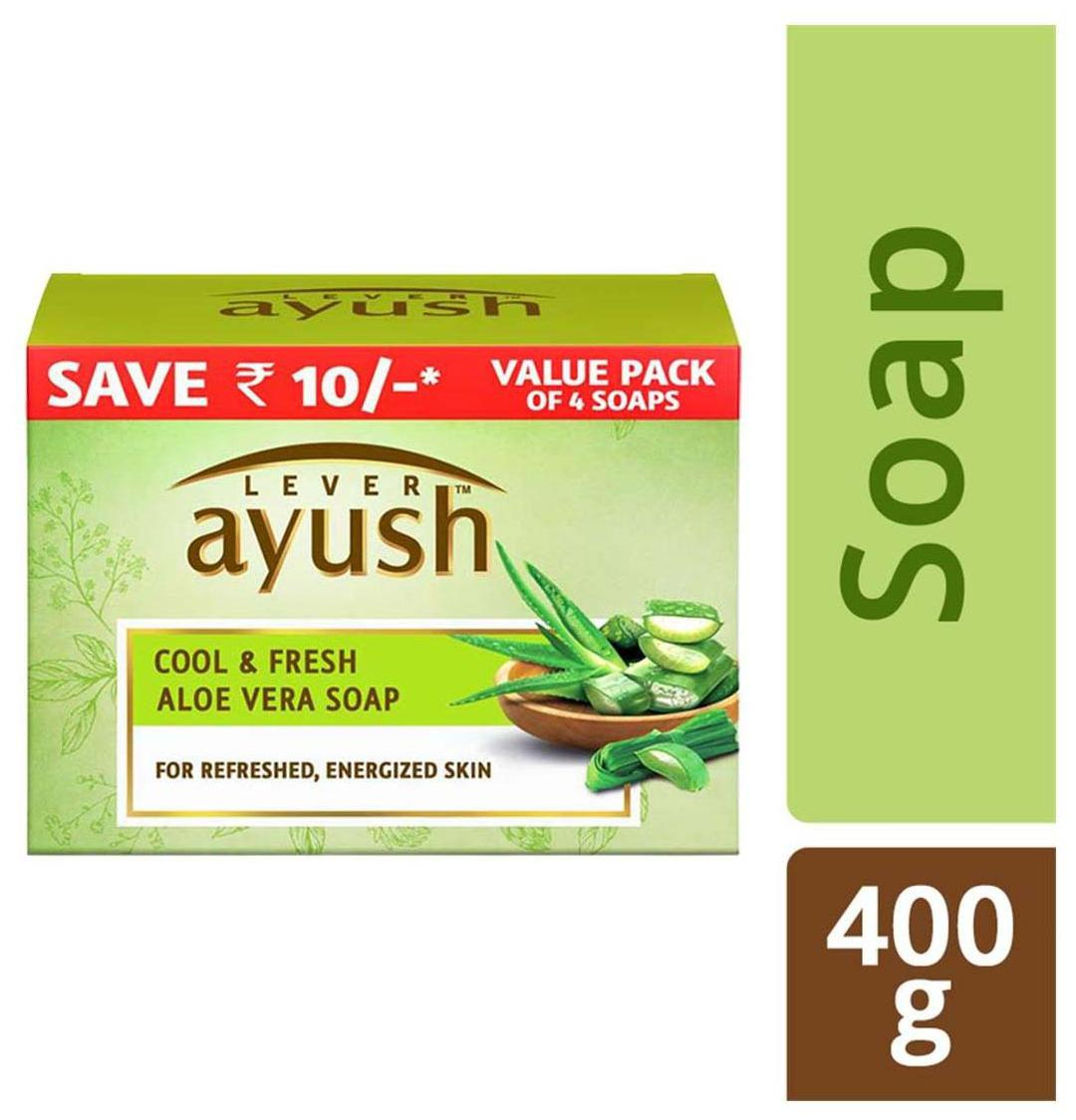 Lever Ayush Cool & Fresh Aloe Vera Soap 100 gm (Pack of 4)