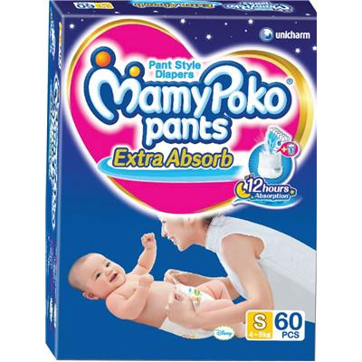 Mamy Poko Extra Absorb Pants Diaper S-60Pcs(Pack of 2)