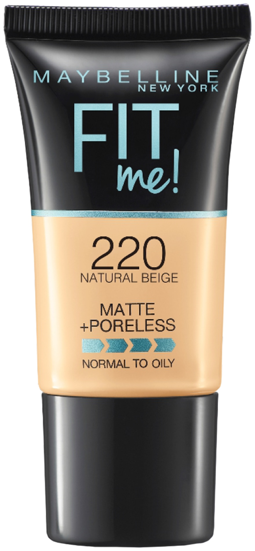 Maybelline New York Fit Me Matte+Poreless Liquid Foundation Tube;220 Natural Beige 18gm