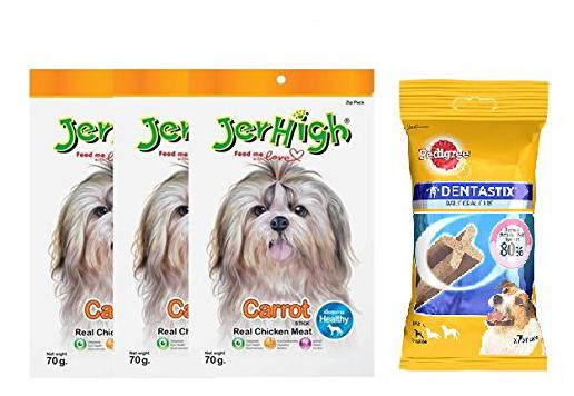 Pedigree Dentastix Small Breed Dog Oral Care, 110 g Weekly Pack (7 Sticks) withJerHigh Carrot Stix Dog Treats, 70 g (Pack of 3)