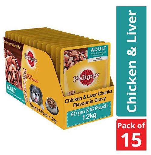 Pedigree Wet Dog Food - Chicken & Liver Chunks in Gravy, for Adult Dogs 1.2 kg