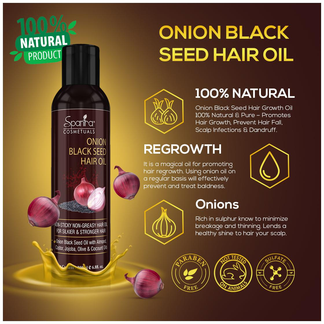Spantra Onion Black Seed Hair Oil Contains Red Oil Extract ...