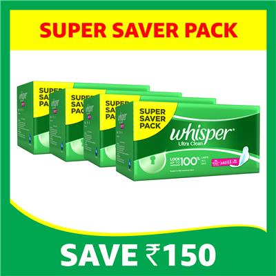 Whisper Ultra Sanitary Pads Extra Large Wings 30 pc Pack(Pack of 4)