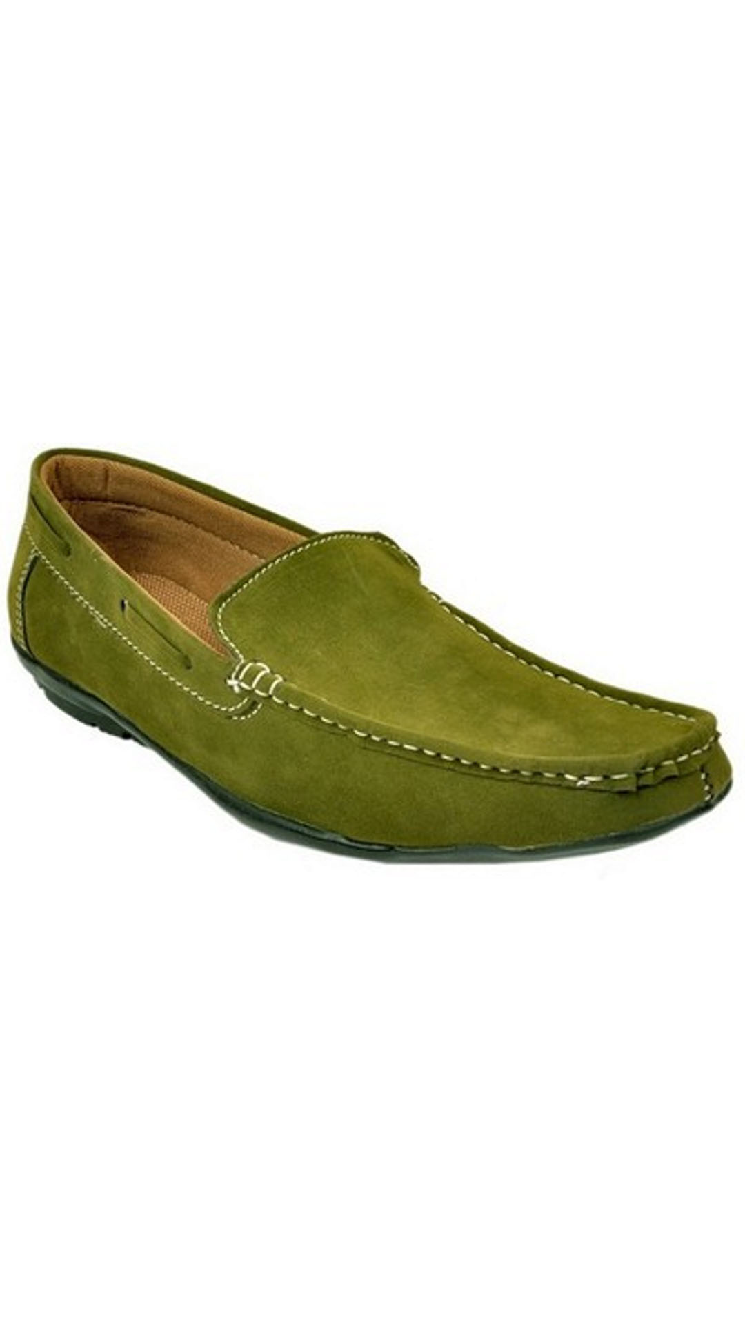 A Star Green Synthetic Leather Loafers