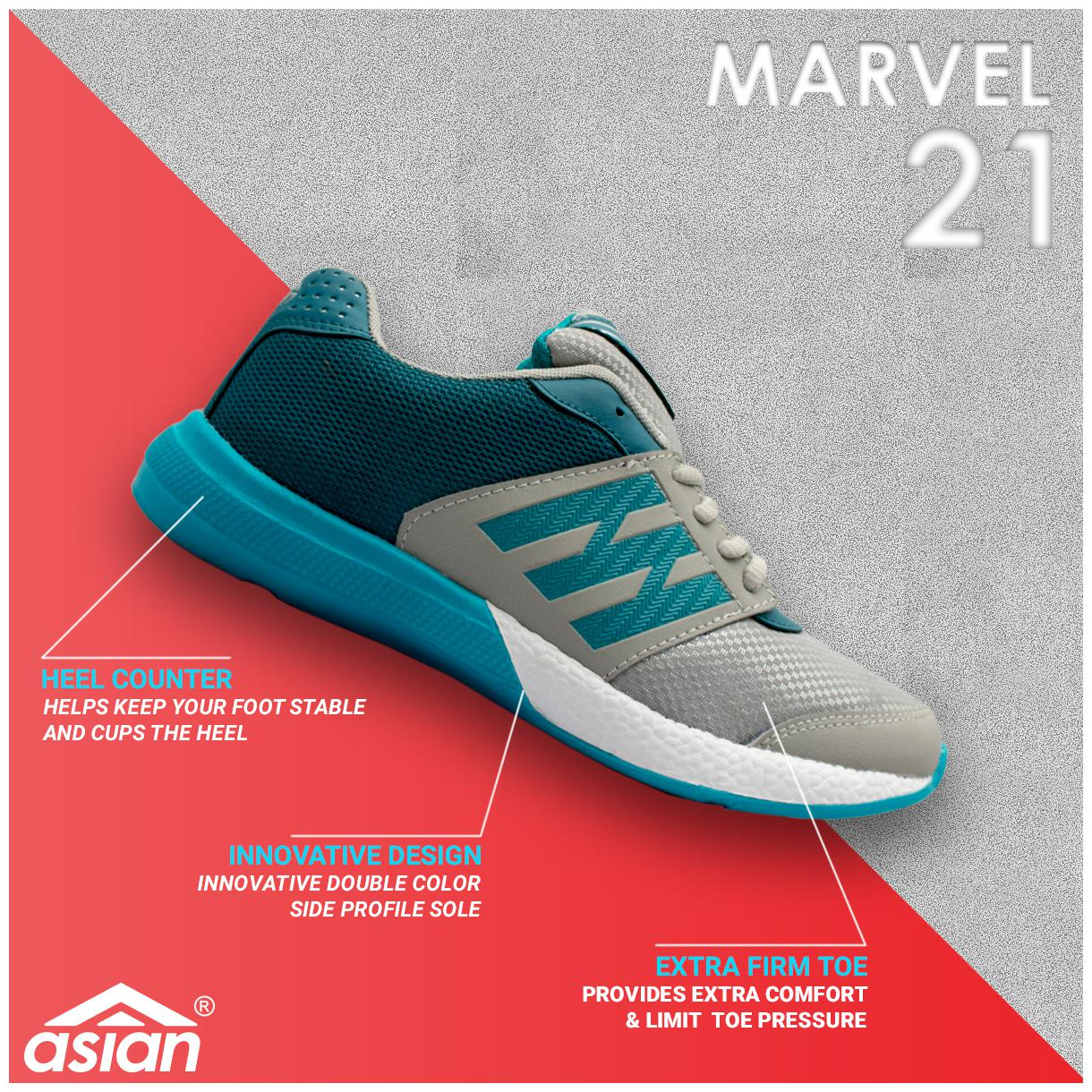 Asian Marvel-21 Grey Green Running Shoes For Men