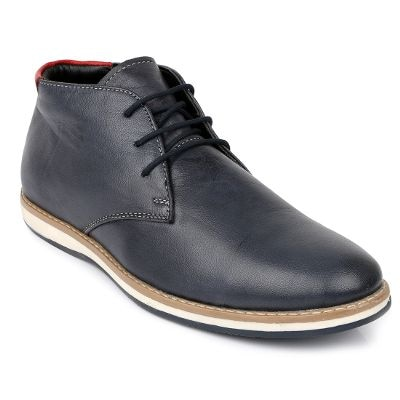 Escaro Men's 100% Genuine Leather Blue Casual Lace Up Chukka Boots