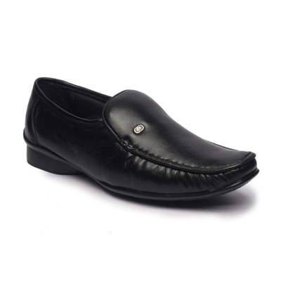 Feather Leather Black Leather Formal Shoes (Size-6)