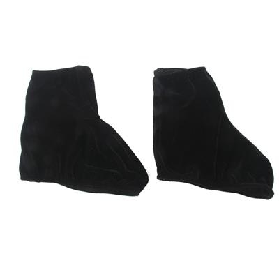 Footful Pair Velvet Reusable Ice Skating Shoes Covers Stretchy Overshoes Black M